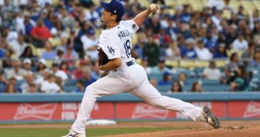 Los Angeles Dodgers pitcher Kenta Maeda against the Los Angeles Angels of Anaheim
