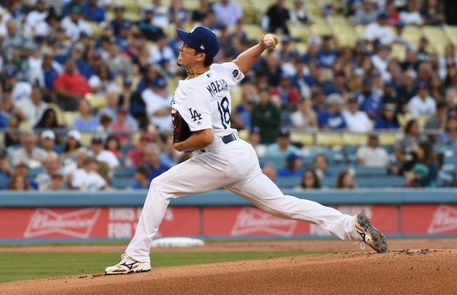Los Angeles Dodgers pitcher Kenta Maeda against the Los Angeles Angels of Anaheim