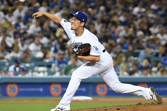 Los Angeles Dodgers pitcher Kenta Maeda makes a relief appearance against the Miami Marlins