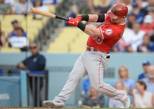 Los Angeles Angels of Anaheim right fielder Kole Calhoun hits a double against the Los Angeles Dodgers