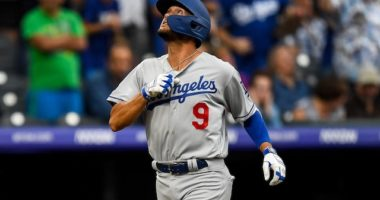 Los Angeles Dodgers infielder Kristopher Negrón celebrates after hitting a home run