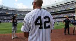 Former New York Yankees closer Mariano Rivera celebrated at Yankee Stadium