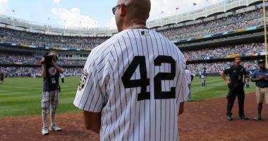 Former New York Yankees closer Mariano Rivera celebrated at Yankee Stadium