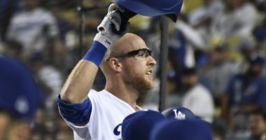 Los Angeles Dodgers infielder Matt Beaty reacts after hitting a home run against the Miami Marlins