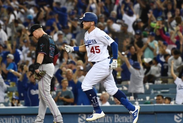 Los Angeles Dodgers infielder Matt Beaty rounds the bases after hitting a home run against the Miami Marlins