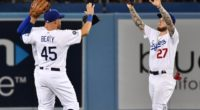 Outfielders Matt Beaty, Alex Verdugo celebrate after a Los Angeles Dodgers win