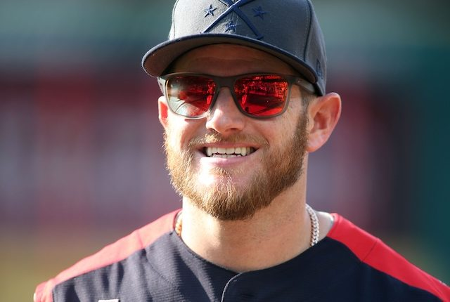 Los Angeles Dodgers infielder Max Muncy during National League batting practice before the 2019 MLB All-Star Game at Progressive Field