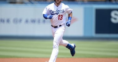 Los Angeles Dodgers infielder Max Muncy runs the bases after hitting a home run against the San Diego Padres