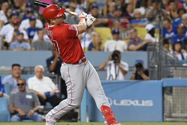 Los Angeles Angels of Anaheim Mike Trout hits a home run at Dodger Stadium