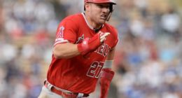 Los Angeles Angels of Anaheim center fielder Mike Trout runs the bases at Dodger Stadium