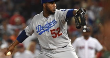 Los Angeles Dodgers relief pitcher Pedro Baez against the Boston Red Sox