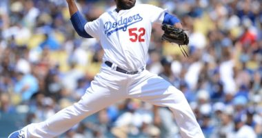 Los Angeles Dodgers relief pitcher Pedro Baez in a game against the San Diego Padres