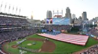 General view of Progressive Field during a flyover before the 2019 MLB All-Star Game in Cleveland