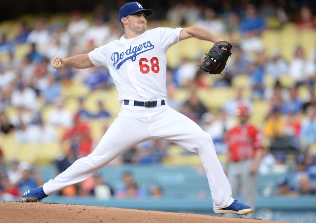 Los Angeles Dodgers pitcher Ross Stripling against the Los Angeles Angels of Anaheim