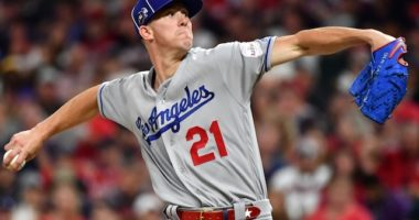 Los Angeles Dodgers starting pitcher Walker Buehler in the 2019 MLB All-Star Game at Progressive Field