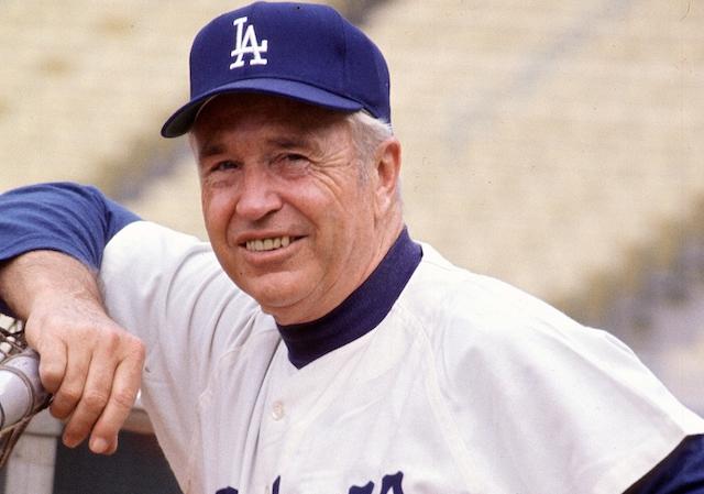 Former Los Angeles Dodgers manager Walter Alston during batting practice at Dodger Stadium