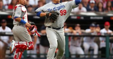Los Angeles Dodgers starting pitcher Hyun-Jin Ryu in the 2019 MLB All-Star Game at Progressive Field