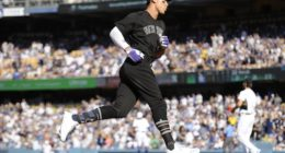 New York Yankees right fielder Aaron Judge rounds the bases after hitting a home run off Los Angeles Dodgers pitcher Clayton Kershaw