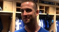 Relief pitcher Adam Kolarek gives his first interview after being traded to the Los Angeles Dodgers