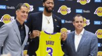 Los Angeles Lakers general manager Rob Pelinka and head coach Frank Vogel with Anthony Davis during his introductory press conference