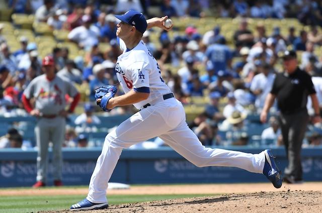 Los Angeles Dodgers relief pitcher Casey Sadler against the St. Louis Cardinals