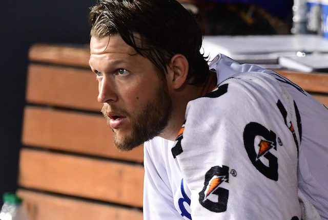 Los Angeles Dodgers starting pitcher Clayton Kershaw in the dugout at Dodger Stadium