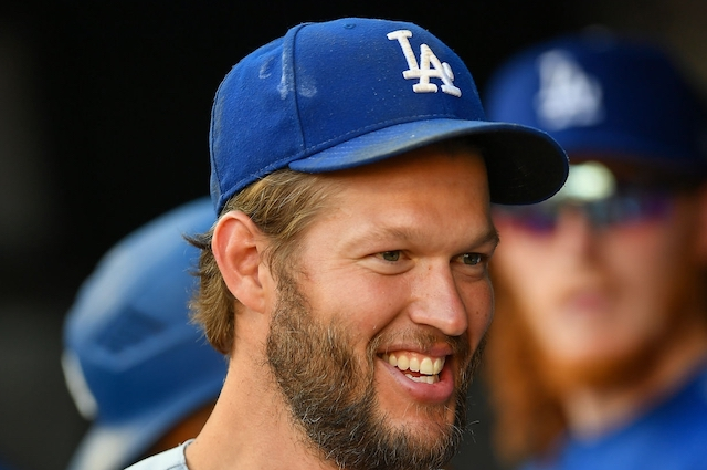 Los Angeles Dodgers pitcher Clayton Kershaw in the dugout at SunTrust Park