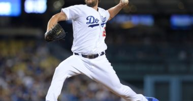 Los Angeles Dodgers pitcher Clayton Kershaw in a start against the Toronto Blue Jays