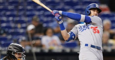 Los Angeles Dodgers All-Star Cody Bellinger hits a home run against the Miami Marlins