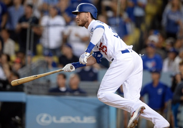 Los Angeles Dodgers All-Star Cody Bellinger hits a double