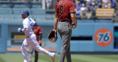 Los Angeles Dodgers All-Star Cody Bellinger rounds the bases after hitting a home run against the Arizona Diamondbacks