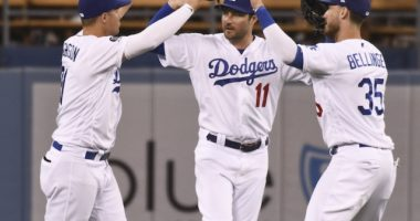 Cody Bellinger, Joc Pederson and A.J. Pollock celebrate after a Los Angeles Dodgers win