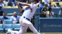 Los Angeles Dodgers shortstop Corey Seager strikes out