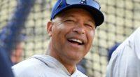 Los Angeles Dodgers manager Dave Roberts during batting practice at Dodger Stadium