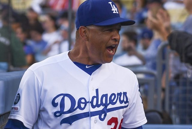 Los Angeles Dodgers manager Dave Roberts in the dugout