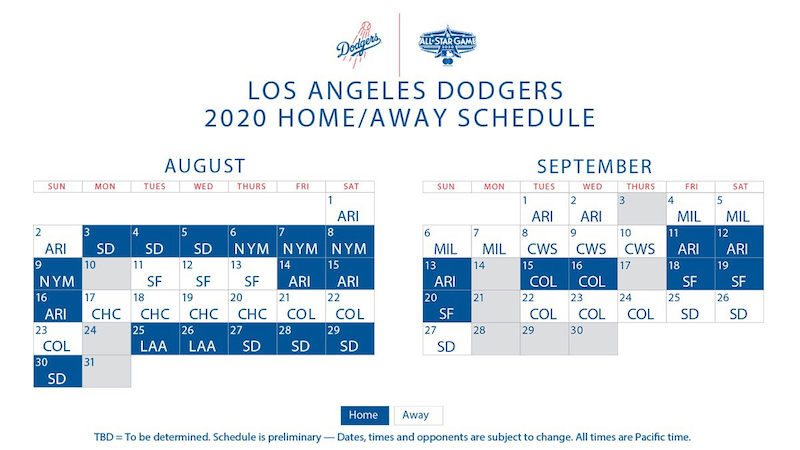 Los Angeles Dodgers 2020 schedule with games for August-September