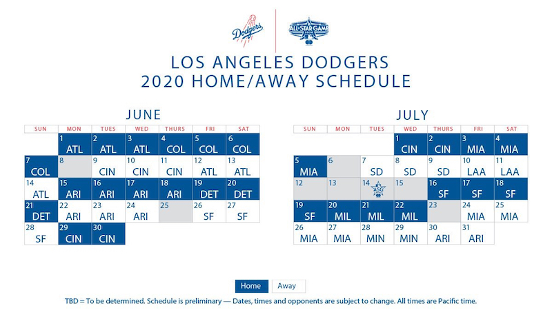 Los Angeles Dodgers 2020 schedule with games for June-July