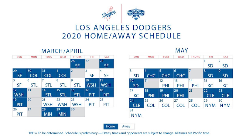 Los Angeles Dodgers 2020 schedule with games for March-May