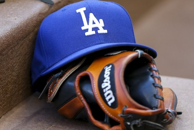 Los Angeles Dodgers cap with a glove