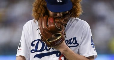 Los Angeles Dodgers pitcher Dustin May reacts during his MLB debut