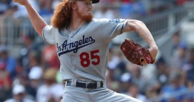 Los Angeles Dodgers pitcher Dustin May in a game against the Atlanta Braves