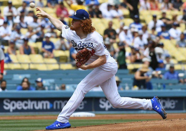 Los Angeles Dodgers pitcher Dustin May against the St. Louis Cardinals