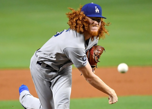 Los Angeles Dodgers pitcher Dustin May against the Miami Marlins