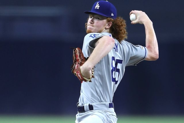 Los Angeles Dodgers pitcher Dustin May against the San Diego Padres