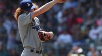Los Angeles Dodgers pitcher Dustin May reacts during a game against the Atlanta Braves