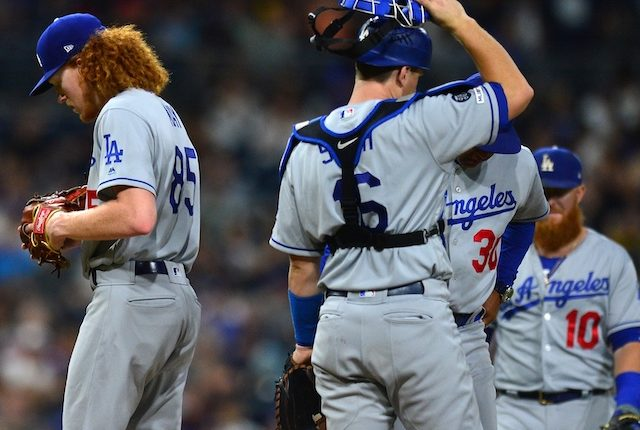 Los Angeles Dodgers manager Dave Robert removes Dustin May from his start against the San Diego Padres
