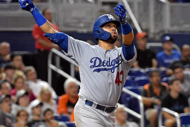 Los Angeles Dodgers infielder Edwin Rios hits a home run
