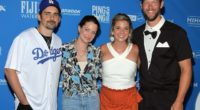 Ellen Kershaw, Clayton Kershaw, Kimberly Williams-Paisley and Brad Paisley on the blue carpet for the seventh annual Kershaw's Challenge Ping Pong 4 Purpose