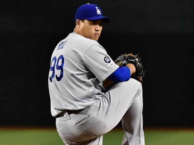 Los Angeles Dodgers pitcher Hyun-Jin Ryu against the Arizona Diamondbacks