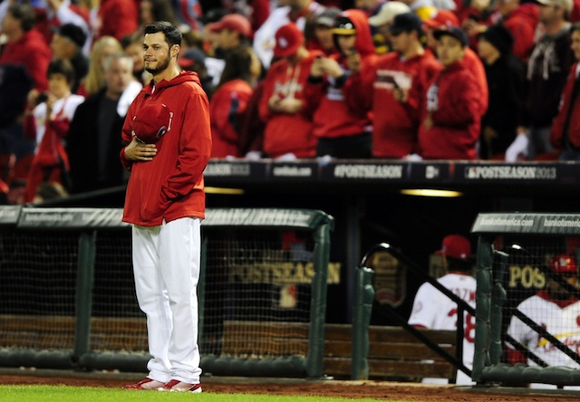 Former St. Louis Cardinals pitcher Joe Kelly during a national anthem standoff before a game against the Los Angeles Dodgers in the 2013 NLCS